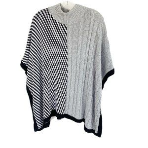 Chicos Mixed Pattern Poncho Sweater Gray Black OS